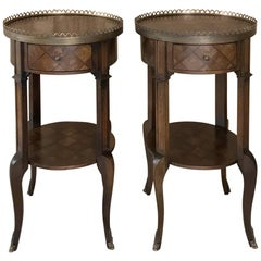 Pair of French Louis XVI Marquetry Nightstands or End Tables