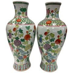 Pair of Chinese Asian Porcelain Baluster Vases with Hand Painted Flowers & Vines