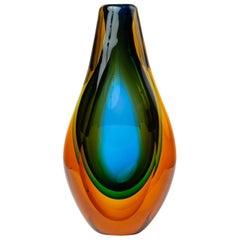 Murano Triple Sommerso Glass Vase