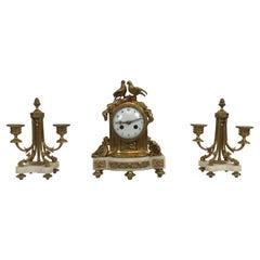 Vincenti et Cie Diminutive Clock Set, French Marble and Ormolu, circa 1890-1900