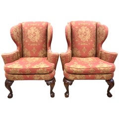 Pair of Antique Chippendale Wingback Chairs Armchairs