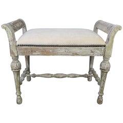 Swedish Painted Velvet Upholstered Vanity Bench