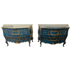 Pair of Royal Blue and Parcel-Gilt Decorated Bombay Commodes or Chests