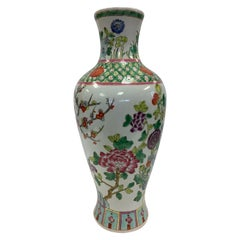 Chinese Asian Baluster Form Porcelain Hand Painted Vase with Flowers and Vine