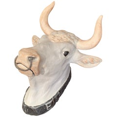 Hand Painted French Terracotta Butcher Cow Head Sculpture with Ring and Collar