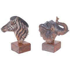 Carved Wood Zebra and Elephant Heads