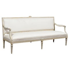 Swedish 1790s Gustavian Period Painted Wood Upholstered Sofa with Fluted Legs