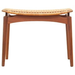 Mid-Century Modern Scandinavian Stool in Cane and Teak