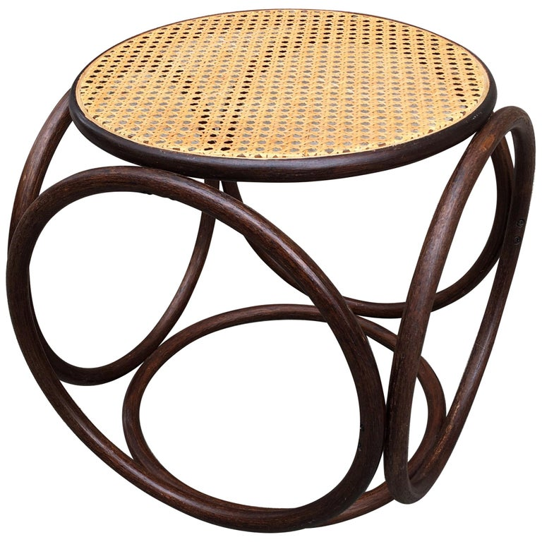 Michael Thonet Caned Ottoman For Sale