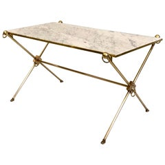 French Modern Neoclassical Brass and Marble Coffee Table by Maison Jansen
