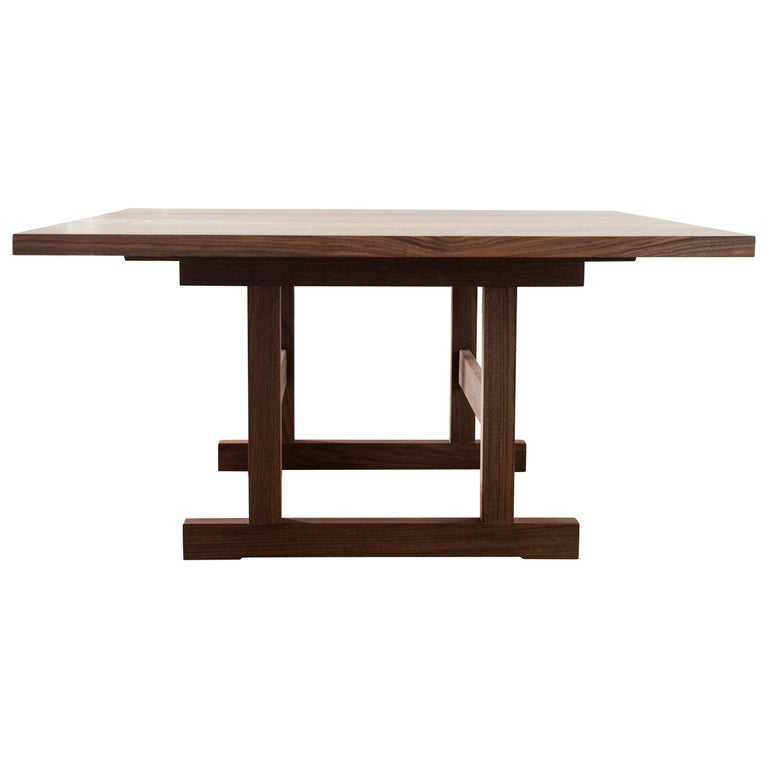 Tremendous Square Weston Trestle Dining Table In Walnut By Hopes Woodshop Customarchery Wood Chair Design Ideas Customarcherynet
