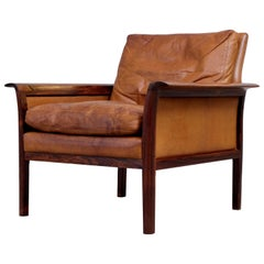 Cognac Brown Leather Lounge Chair by Knut Sæter, 1960s