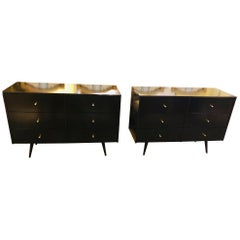 Pair of Mid-Century Modern Paul McCobb Planner Group Ebony Chests or Commodes