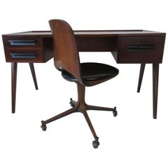 Rare George Mulhauser Plycraft Compass Desk and Chair