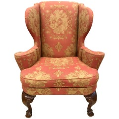 Antique Chippendale Wingback Chair Armchair