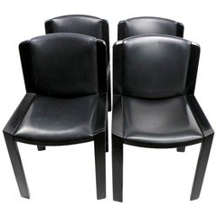 Classic Colombo Model 300 Dining Chairs Black Lacquer with Vinyl Upholstery