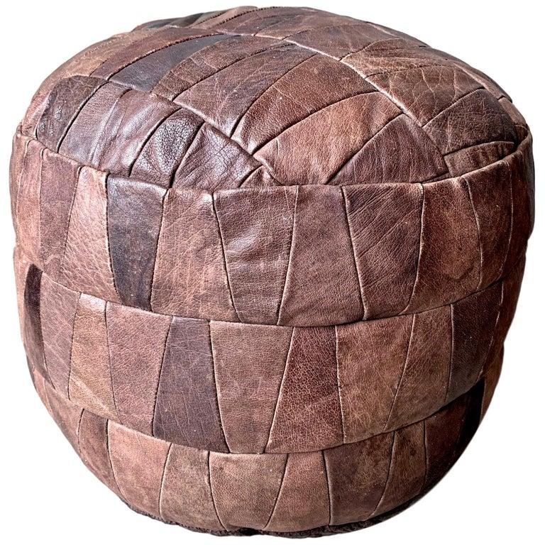 De Sede Brown Leather Patchwork Ottoman For Sale