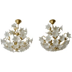 Pair of Italian Chandelier Murano Glass Gold White Flowers, 1970