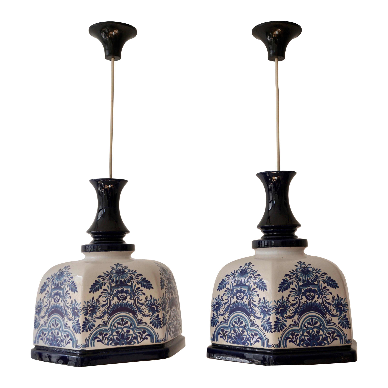 Pair of Italian Hollywood Regency Ceramic Floral Pendant Lights