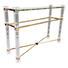 Acrylic Console 2 Glass Plates on Four Rectangular Columns