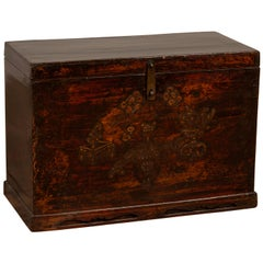 Chinese Antique Wooden Blanket Chest with Raised Decor and Polychrome Patina