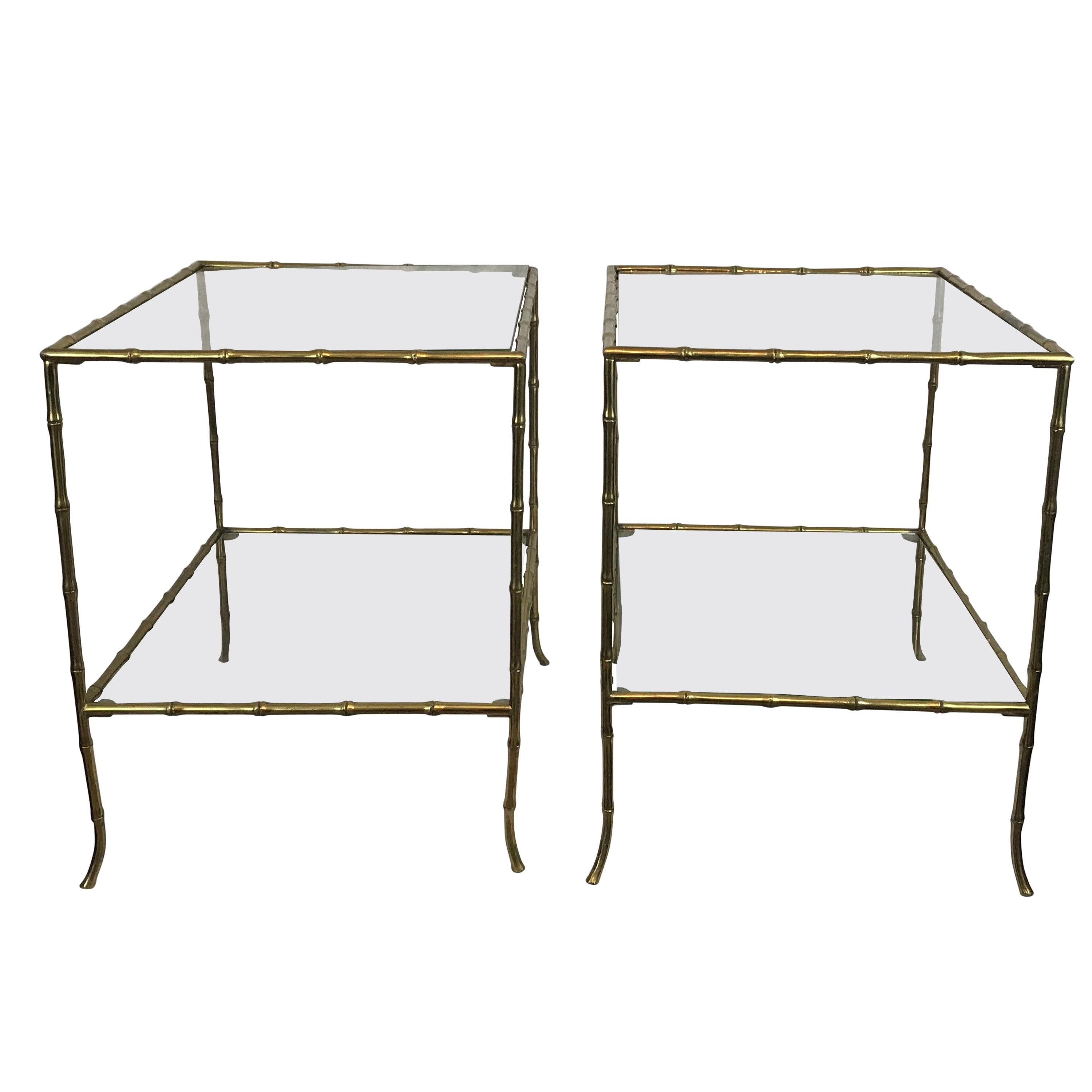 Pair Of Side Tables, Gold Metal Faux Bamboo Frames With Glass, Mid 20th  Century