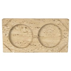 Travertine Double Picture Frame, Italy, Mid-Century Modern