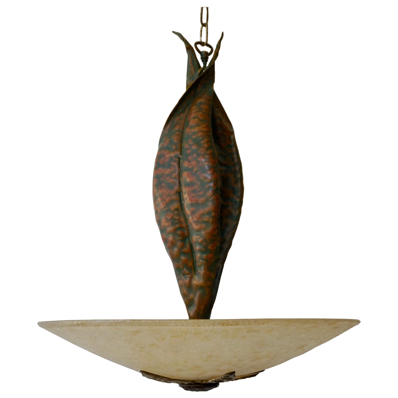 Murano Glass and Bronze Pendant Light
