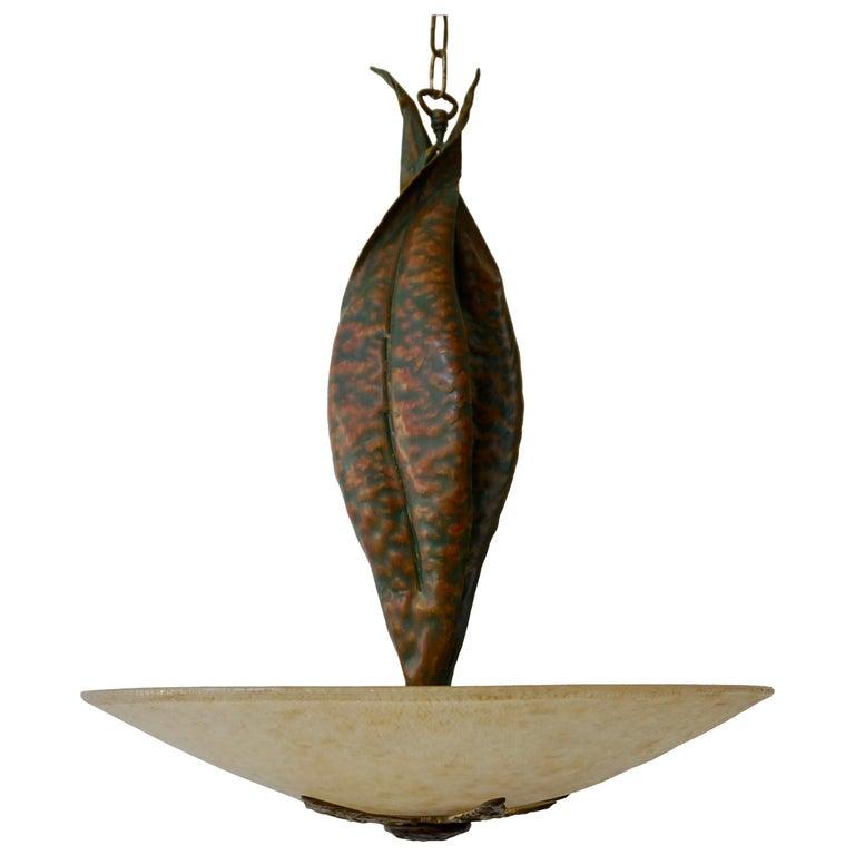 Murano Glass and Bronze Pendant Light  For Sale