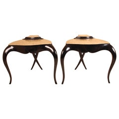 Pair of Contemporary Black Lacquer and Silver Leaf Tables by Christopher Guy