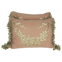 Custom Embroidered Antique Silk Floral Pillows by Melissa Levinson