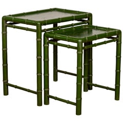 Set of Two Chinese Bamboo Green Lacquered Nesting Tables with Side Stretchers