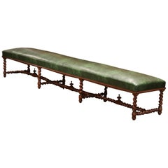19th Century French Carved Walnut and Leather Eight-Leg Barley Twist Bench