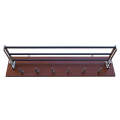 Stylish and Practical Mid-Century Modern Wood, Aluminum and Steel Wall Coat Rack