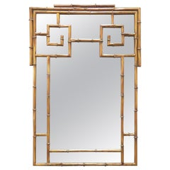 Hollywood Regency Style Gilded Faux Bamboo Mirror, circa 1950s