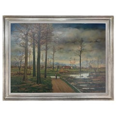 Large Midcentury Framed Oil Painting on Canvas by Fr. De Roover
