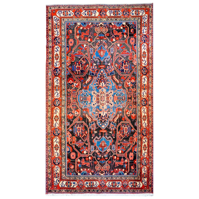 Diamond Basic Porcelain Blue Persian Style Wool Area Rug: Fanstastic Vintage Persian Mezlaghan Rug For Sale At 1stdibs