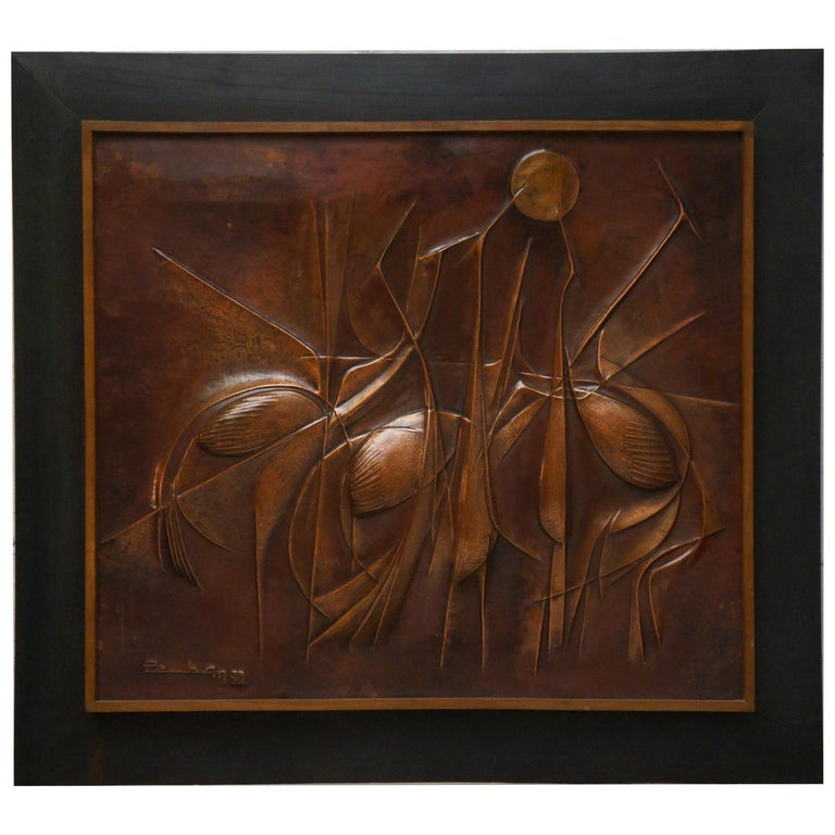 Copper Panel Artwork by Pemba For Sale