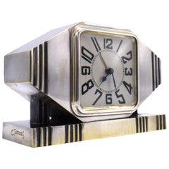 Art Deco Silvered Bronze Machine Age Alarm Clock, circa 1920s