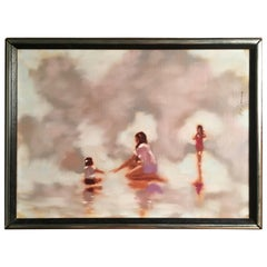 Surrealist Painting of Women at the Shore by A. M. Torino