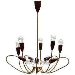 Italian Brass Midcentury Chandelier in the Style of Stilnovo