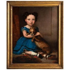 Portrait of a Young Girl Clutching Her Terrier, England, circa 1850
