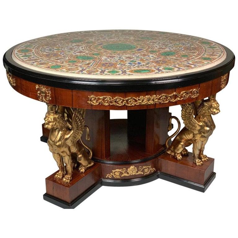 Pietra Dura Empire Table For Sale
