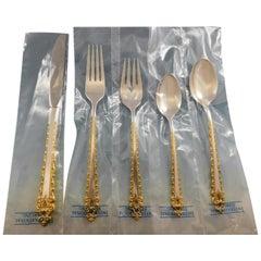 Golden La Strada by International Sterling Silver Flatware Set Service 65pc New