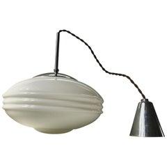 Danish Functionalist Opaline Glass Pendant Light by Louis Poulsen, 1930s