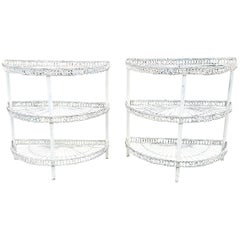 Vintage Pair of Painted Wire Demilune Flower Stands, circa 1930-1950