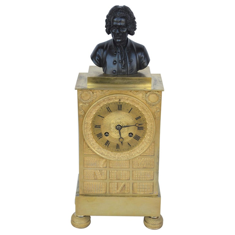 Charles X Gilt Bronze Mantel Clock For Sale