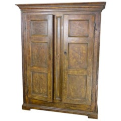 1820 Rat-Tail Quebec Pine Armoire with Hand Painted Burled Oak Faux Finish