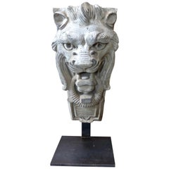 Limestone Lion's Head Building Ornament, circa 1900