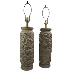 Pair Brutalist Stoneware Table Lamps